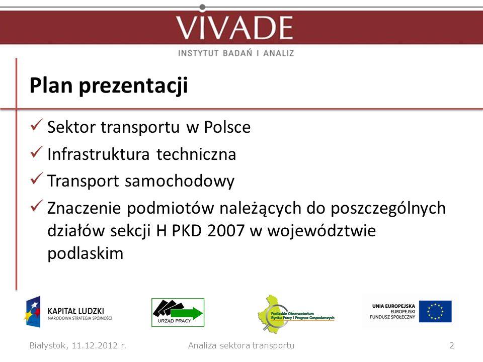 Plan prezentacji Sektor transportu w Polsce Infrastruktura techniczna Transport samochodowy Znaczenie podmiotów należących do poszczególnych działów s