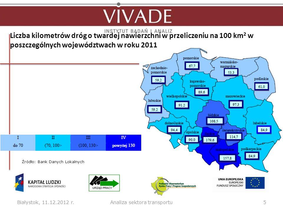 Liczba kilometrów dróg o twardej nawierzchni w przeliczeniu na 100 km 2 w poszczególnych województwach w roku 2011 Białystok, 11.12.2012 r.5Analiza se