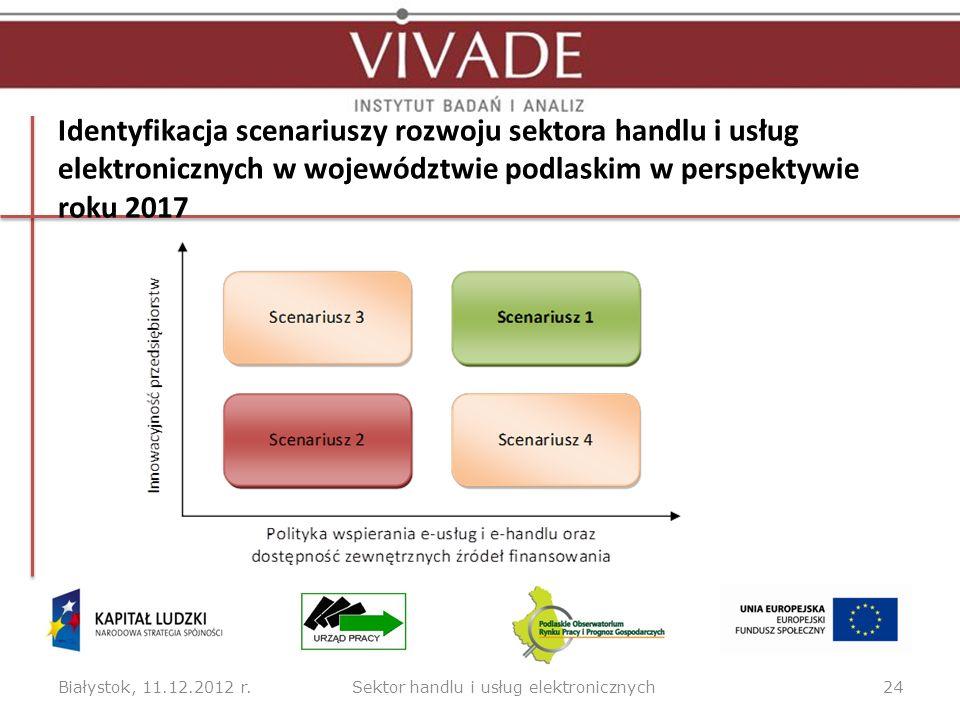 Identyfikacja scenariuszy rozwoju sektora handlu i usług elektronicznych w województwie podlaskim w perspektywie roku 2017 Białystok, 11.12.2012 r.24S
