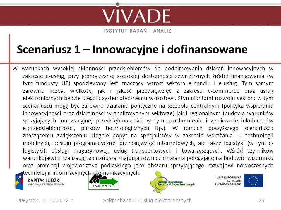 Scenariusz 1 – Innowacyjne i dofinansowane W warunkach wysokiej skłonności przedsiębiorców do podejmowania działań innowacyjnych w zakresie e-usług, p