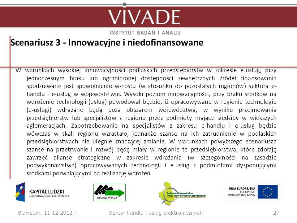 Scenariusz 3 - Innowacyjne i niedofinansowane W warunkach wysokiej innowacyjności podlaskich przedsiębiorstw w zakresie e-usług, przy jednoczesnym bra