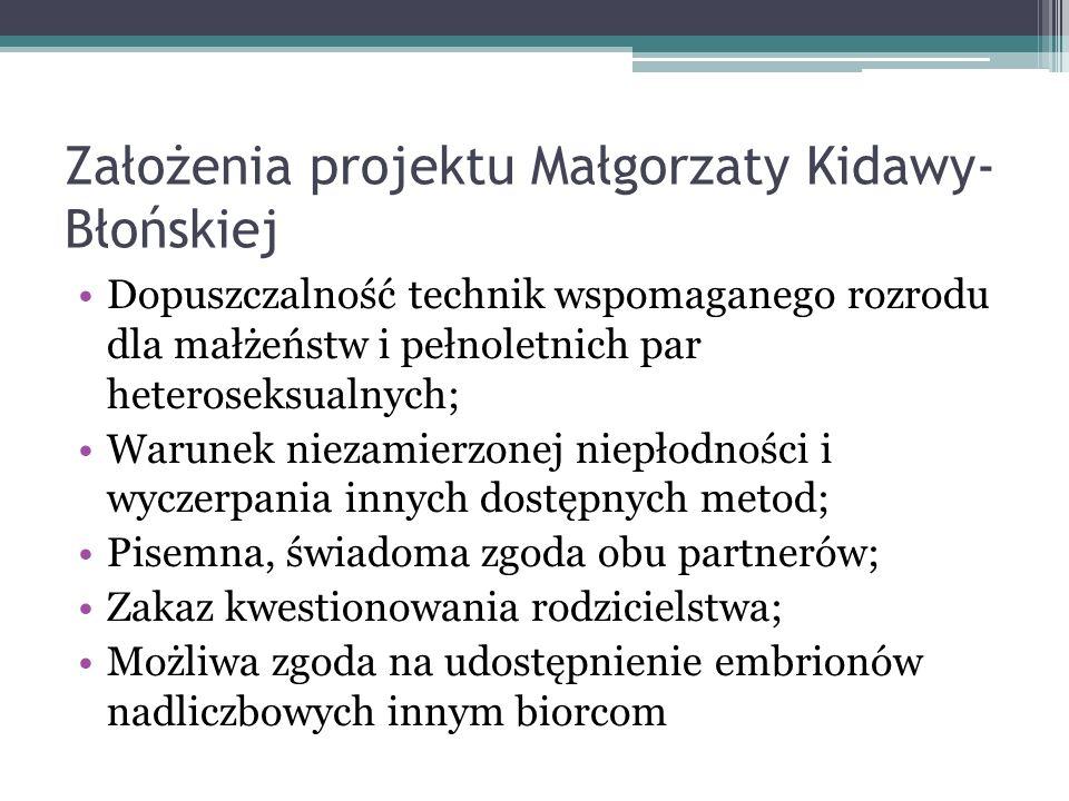 Założenia projektu Małgorzaty Kidawy- Błońskiej Dopuszczalność technik wspomaganego rozrodu dla małżeństw i pełnoletnich par heteroseksualnych; Warune