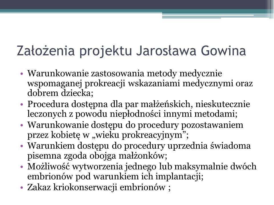 Założenia projektu Jarosława Gowina Warunkowanie zastosowania metody medycznie wspomaganej prokreacji wskazaniami medycznymi oraz dobrem dziecka; Proc