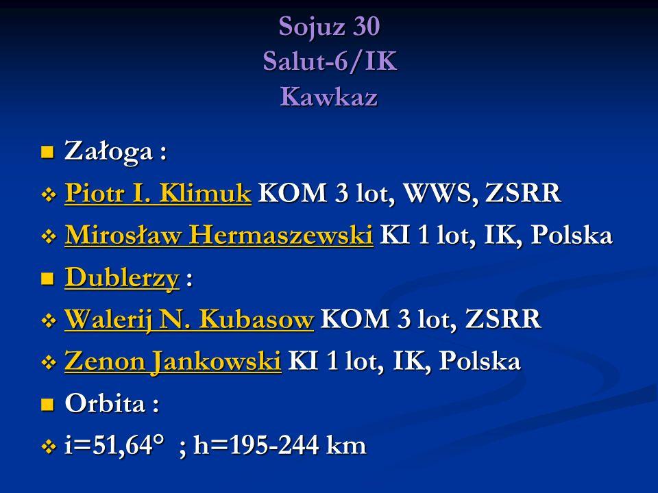 Sojuz 30 Salut-6/IK Kawkaz Załoga : Załoga : Piotr I. Klimuk KOM 3 lot, WWS, ZSRR Piotr I. Klimuk KOM 3 lot, WWS, ZSRR Piotr I. Klimuk Piotr I. Klimuk