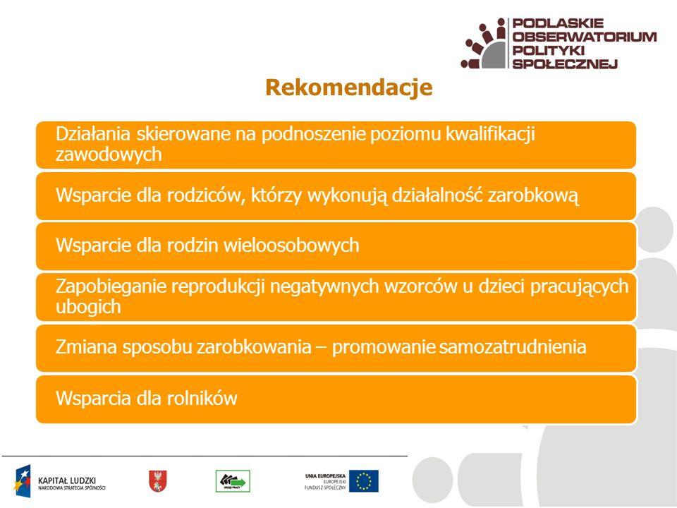 Rekomendacje Działania skierowane na podnoszenie poziomu kwalifikacji zawodowych Wsparcie dla rodziców, którzy wykonują działalność zarobkowąWsparcie