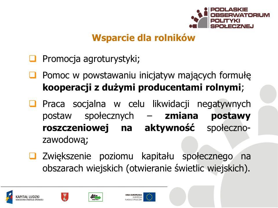 Wsparcie dla rolników Promocja agroturystyki; Pomoc w powstawaniu inicjatyw mających formułę kooperacji z dużymi producentami rolnymi; Praca socjalna