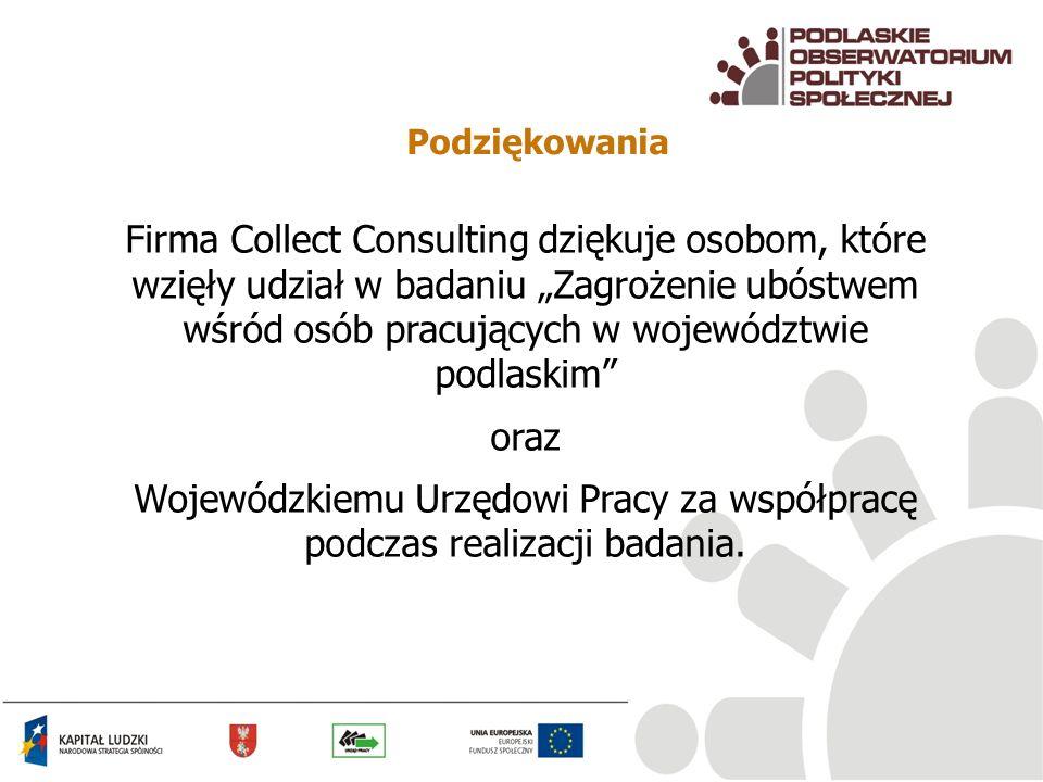 Podziękowania Firma Collect Consulting dziękuje osobom, które wzięły udział w badaniu Zagrożenie ubóstwem wśród osób pracujących w województwie podlas