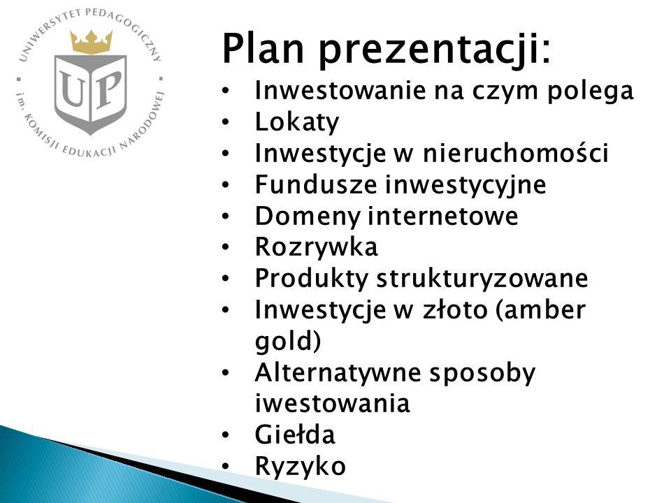 Plan prezentacji: Inwestowanie na czym polega Lokaty Inwestycje w nieruchomości Fundusze inwestycyjne Domeny internetowe Rozrywka Produkty strukturyzo