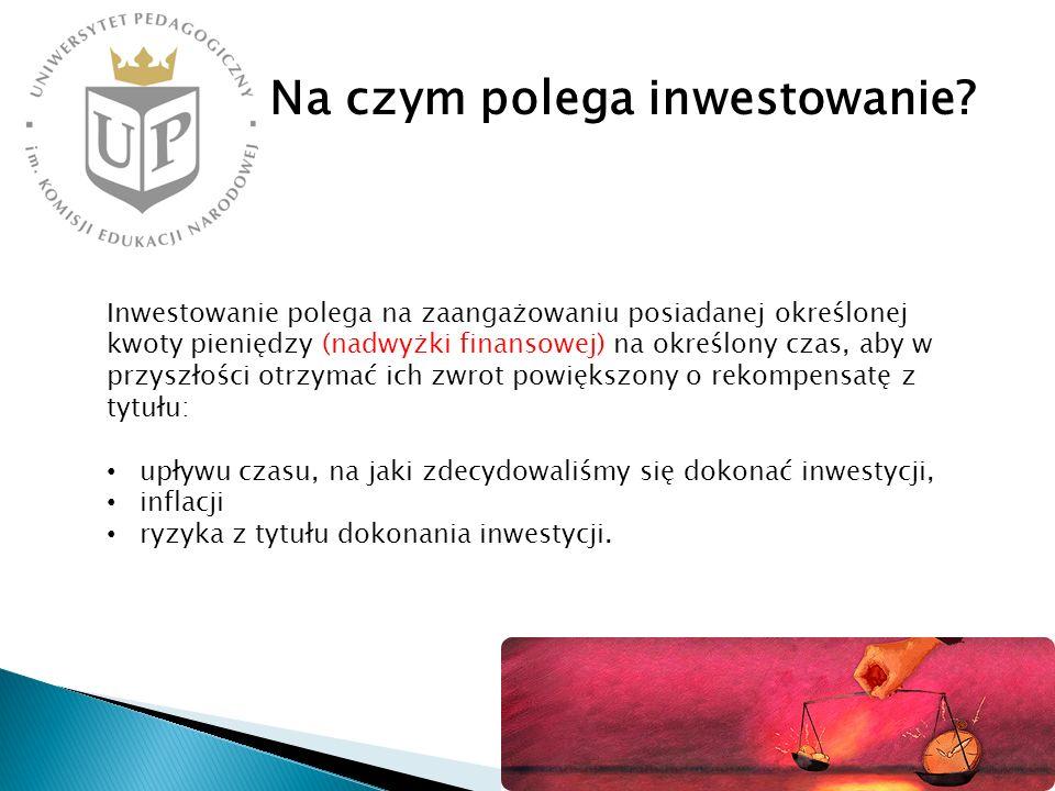 Na czym polega inwestowanie? Inwestowanie polega na zaangażowaniu posiadanej określonej kwoty pieniędzy (nadwyżki finansowej) na określony czas, aby w