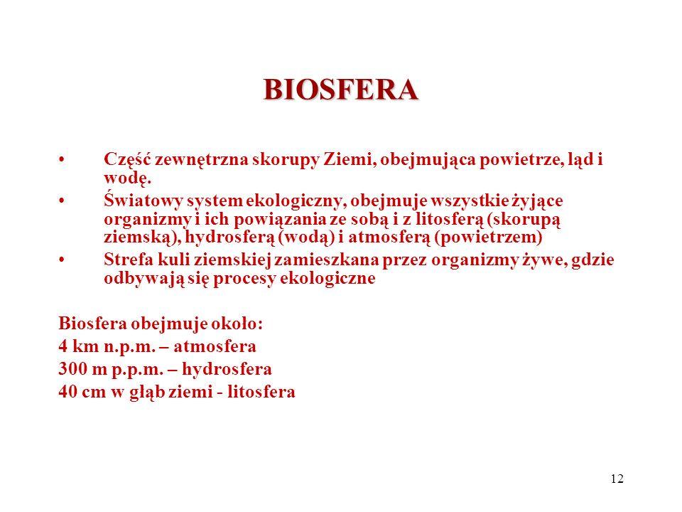 BIOSFERA Część zewnętrzna skorupy Ziemi, obejmująca powietrze, ląd i wodę. Światowy system ekologiczny, obejmuje wszystkie żyjące organizmy i ich powi