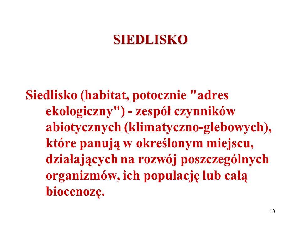 SIEDLISKO Siedlisko (habitat, potocznie