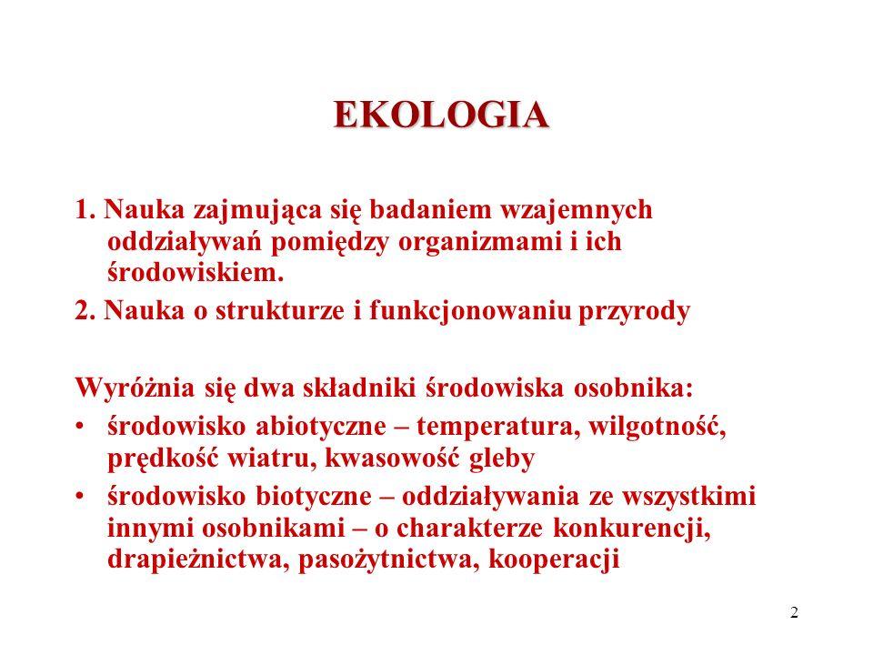 DZIEDZINY EKOLOGII DZIEDZINY EKOLOGII 1.Ekologia behawioralna – wyjaśnianie prawidłowości rządzących zachowaniem się zwierząt 2.Ekologia fizjologiczna – wyjaśnia jak procesy fizjologiczne zachodzące na poziomie pojedynczych organizmów mogą wpływać na przebieg procesów ekologicznych 3.Ekologia ewolucyjna – ewolucyjne podłoże określonych zjawisk ekologicznych 4.Ekologia molekularna – stosowanie metod biologii molekularnej do badania i wyjaśniania zjawisk ekologicznych 3