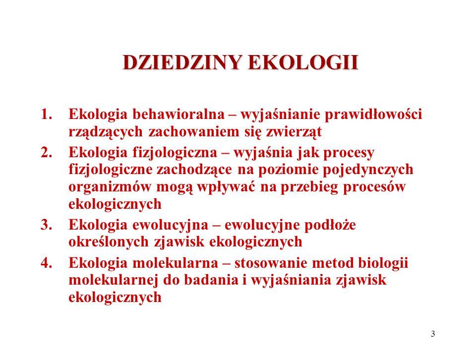 DZIEDZINY EKOLOGII DZIEDZINY EKOLOGII 1.Ekologia behawioralna – wyjaśnianie prawidłowości rządzących zachowaniem się zwierząt 2.Ekologia fizjologiczna