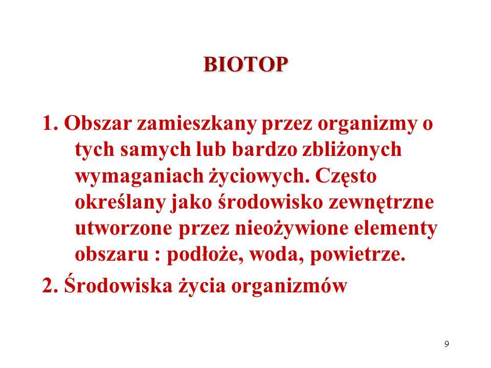 BIOTOP 1. Obszar zamieszkany przez organizmy o tych samych lub bardzo zbliżonych wymaganiach życiowych. Często określany jako środowisko zewnętrzne ut