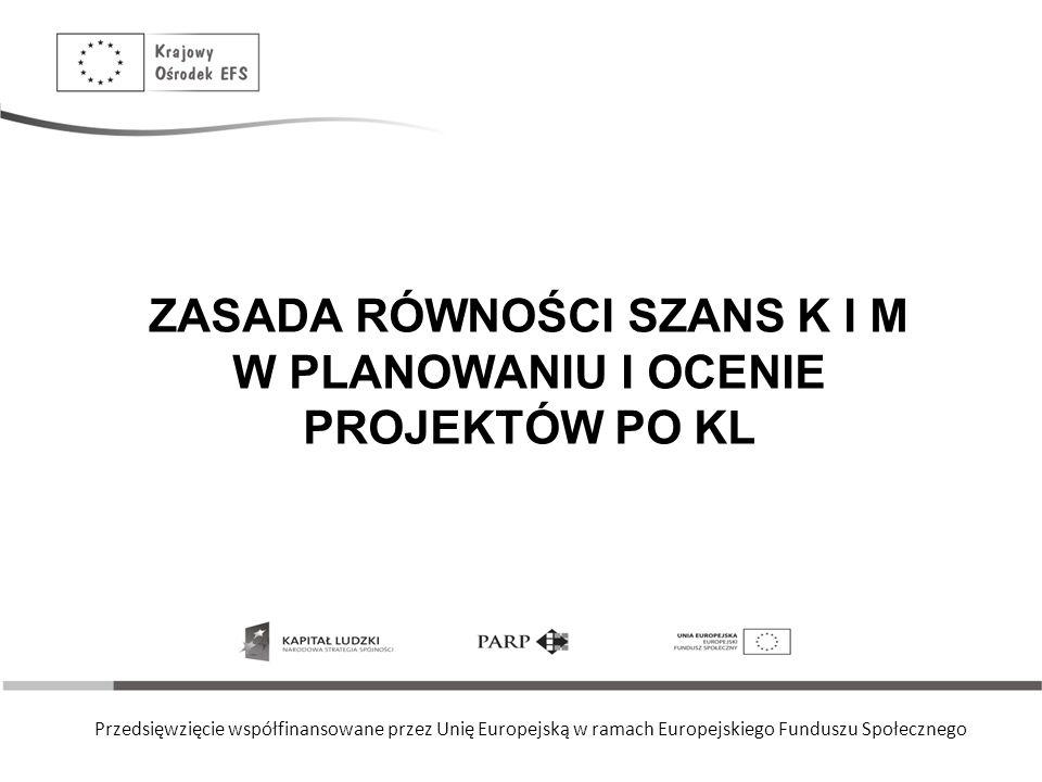 Przedsięwzięcie współfinansowane przez Unię Europejską w ramach Europejskiego Funduszu Społecznego ZASADA RÓWNOŚCI SZANS K I M W PLANOWANIU I OCENIE PROJEKTÓW PO KL