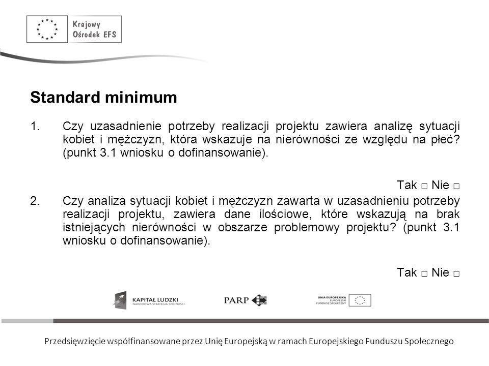 Przedsięwzięcie współfinansowane przez Unię Europejską w ramach Europejskiego Funduszu Społecznego Standard minimum 3.Dane w podziale na płeć użyte w uzasadnieniu potrzeby realizacji projektu dotyczą zasięgu i obszaru interwencji projektu (punkt 3.1 wniosku o dofinansowanie).