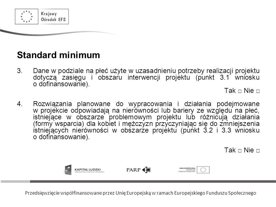 Przedsięwzięcie współfinansowane przez Unię Europejską w ramach Europejskiego Funduszu Społecznego Standard minimum 3.Dane w podziale na płeć użyte w