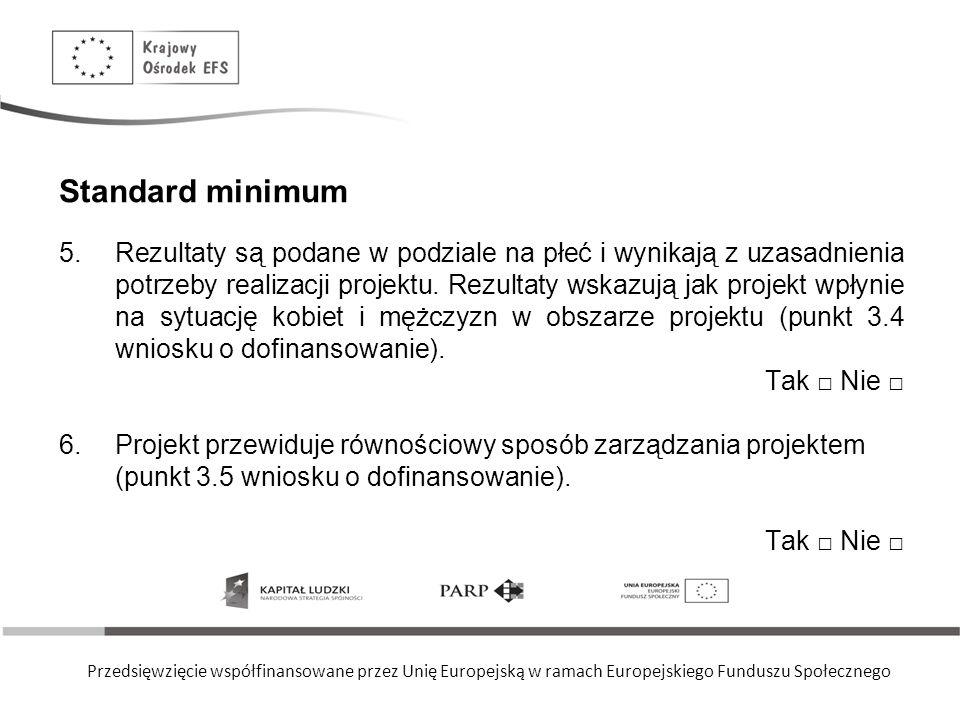 Przedsięwzięcie współfinansowane przez Unię Europejską w ramach Europejskiego Funduszu Społecznego Standard minimum 5.Rezultaty są podane w podziale na płeć i wynikają z uzasadnienia potrzeby realizacji projektu.