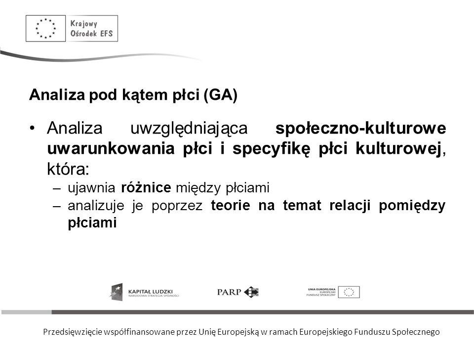 Przedsięwzięcie współfinansowane przez Unię Europejską w ramach Europejskiego Funduszu Społecznego Analiza pod kątem płci (GA) Analiza uwzględniająca społeczno-kulturowe uwarunkowania płci i specyfikę płci kulturowej, która: –ujawnia różnice między płciami –analizuje je poprzez teorie na temat relacji pomiędzy płciami
