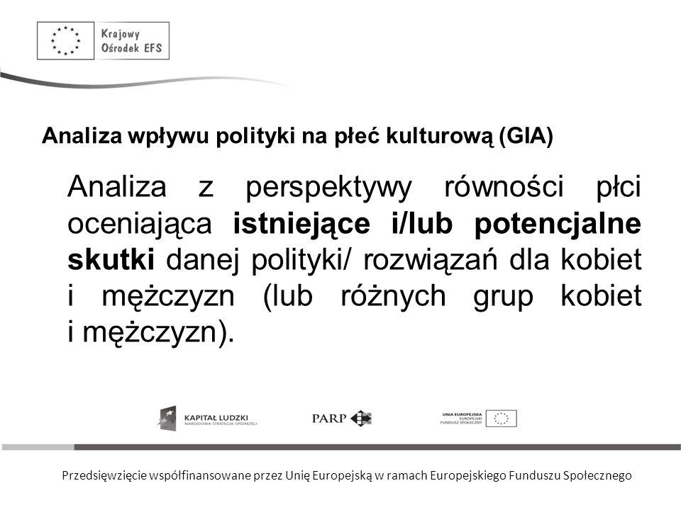 Przedsięwzięcie współfinansowane przez Unię Europejską w ramach Europejskiego Funduszu Społecznego Analiza wpływu polityki na płeć kulturową (GIA) Ana