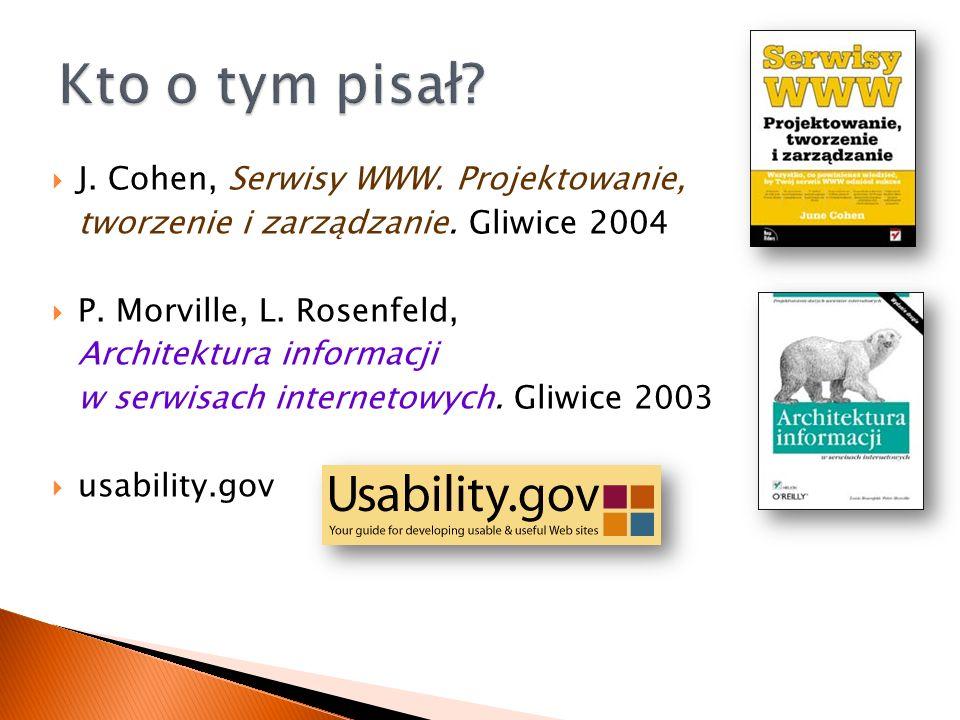 J. Cohen, Serwisy WWW. Projektowanie, tworzenie i zarządzanie.