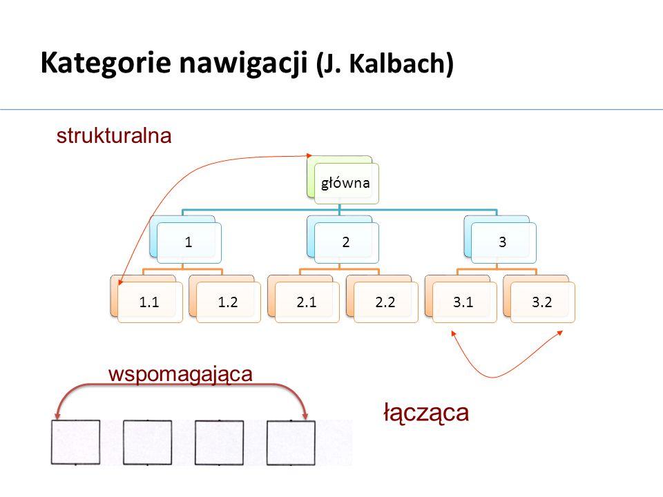 główna11.11.222.12.233.13.2 Kategorie nawigacji (J. Kalbach) strukturalna łącząca wspomagająca