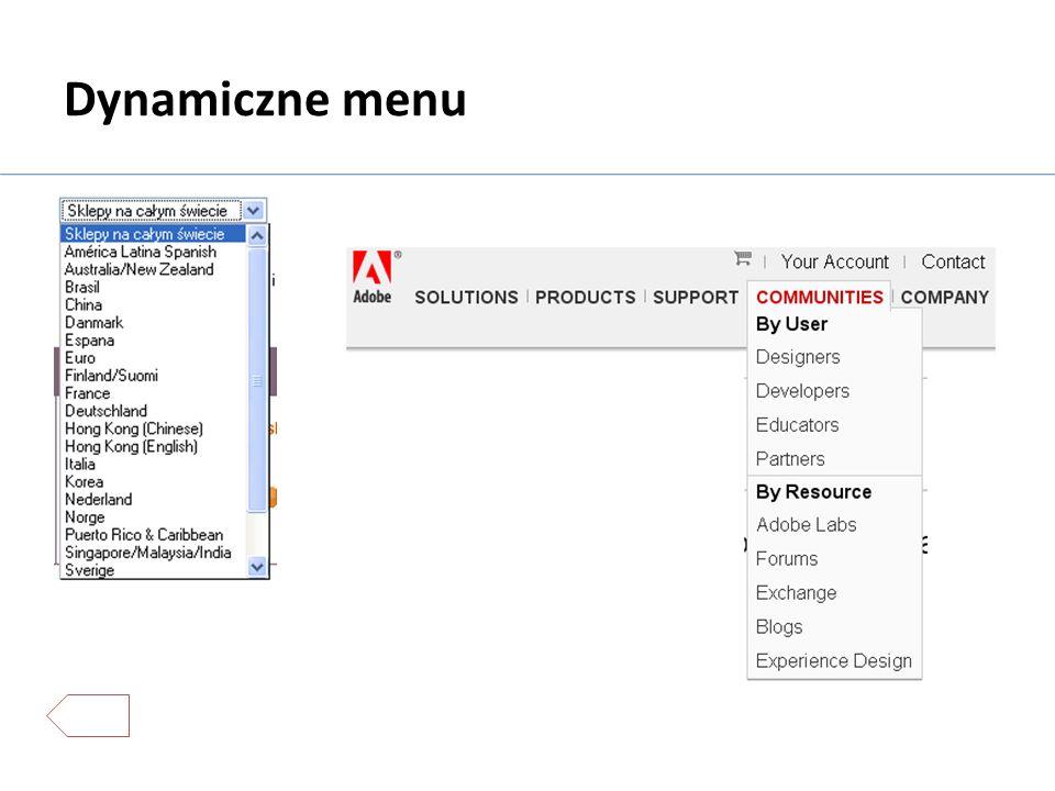 Dynamiczne menu