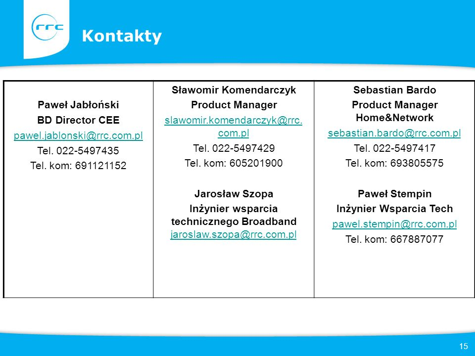 15 Kontakty Added Marketing support Financial Services Educational Services Logistic Services Paweł Jabłoński BD Director CEE pawel.jablonski@rrc.com.