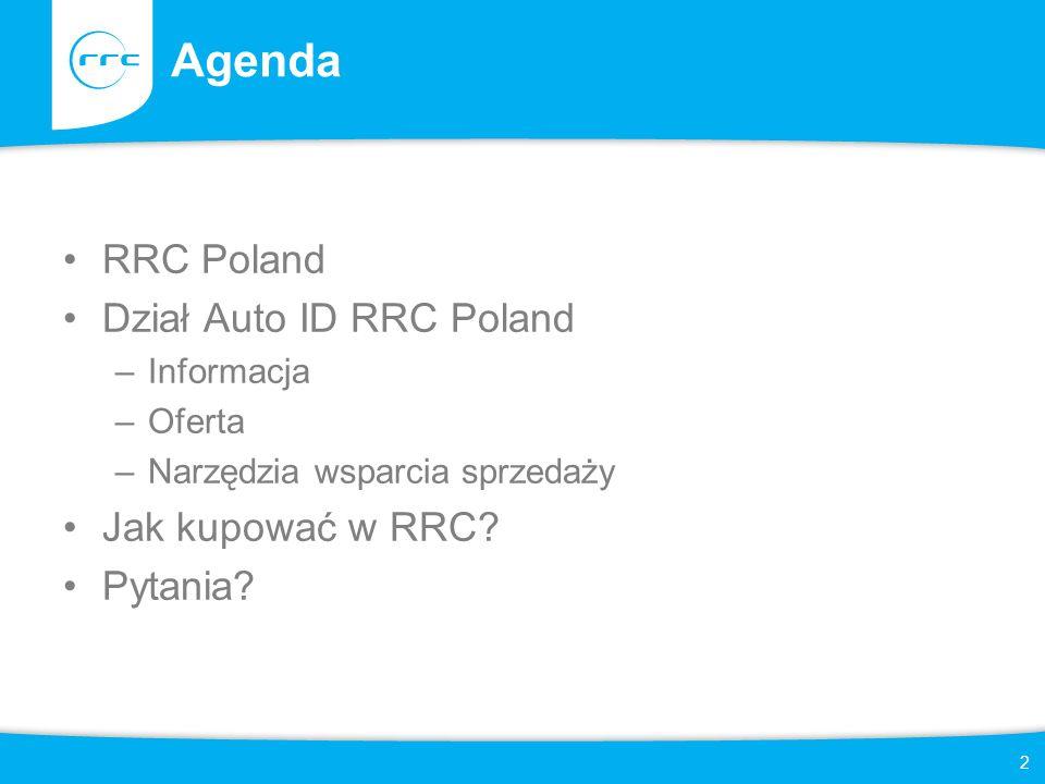 2 Agenda RRC Poland Dział Auto ID RRC Poland –Informacja –Oferta –Narzędzia wsparcia sprzedaży Jak kupować w RRC.