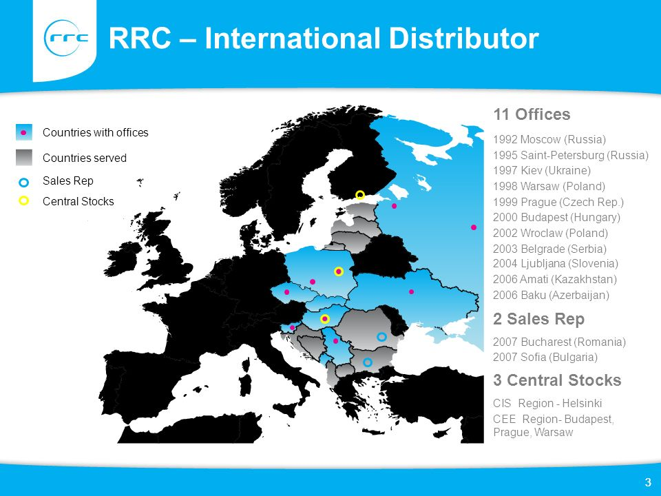 3 RRC – International Distributor 3 1992 Moscow (Russia) 1995 Saint-Petersburg (Russia) 1997 Kiev (Ukraine) 1998 Warsaw (Poland) 1999 Prague (Czech Re