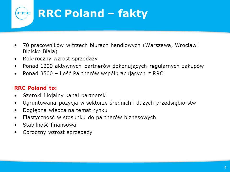 4 RRC Poland – fakty 70 pracowników w trzech biurach handlowych (Warszawa, Wrocław i Bielsko Biała) Rok-roczny wzrost sprzedaży Ponad 1200 aktywnych partnerów dokonujących regularnych zakupów Ponad 3500 – ilość Partnerów współpracujących z RRC RRC Poland to: Szeroki i lojalny kanał partnerski Ugruntowana pozycja w sektorze średnich i dużych przedsiębiorstw Dogłębna wiedza na temat rynku Elastyczność w stosunku do partnerów biznesowych Stabilność finansowa Coroczny wzrost sprzedaży