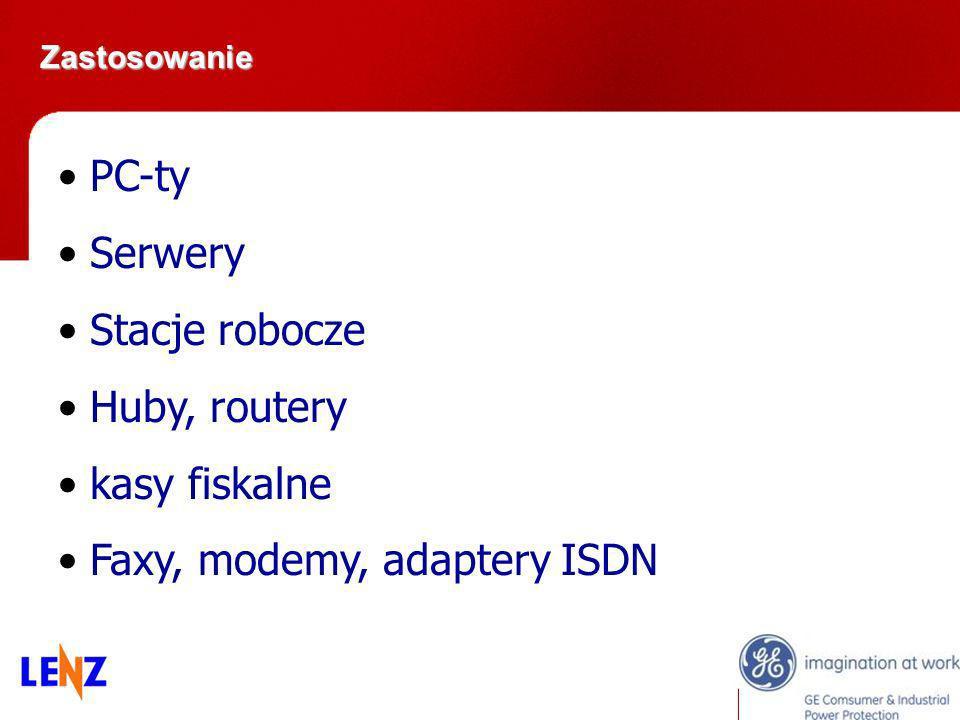 Zastosowanie Zastosowanie PC-ty Serwery Stacje robocze Huby, routery kasy fiskalne Faxy, modemy, adaptery ISDN