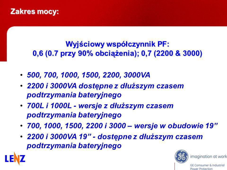Wyjściowy współczynnik PF: 0,6 (0.7 przy 90% obciążenia); 0,7 (2200 & 3000) 500, 700, 1000, 1500, 2200, 3000VA 2200 i 3000VA dostępne z dłuższym czase