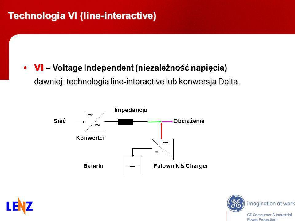 VI – Voltage Independent (niezależność napięcia)VI – Voltage Independent (niezależność napięcia) dawniej: technologia line-interactive lub konwersja D