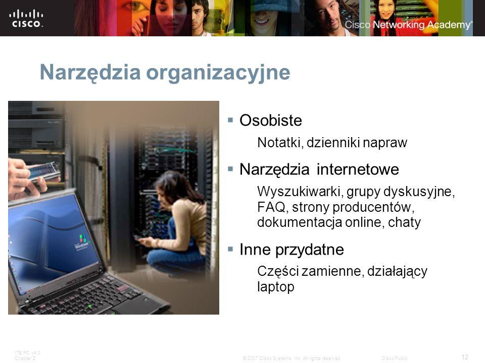 ITE PC v4.0 Chapter 2 12 © 2007 Cisco Systems, Inc. All rights reserved.Cisco Public Narzędzia organizacyjne Osobiste Notatki, dzienniki napraw Narzęd