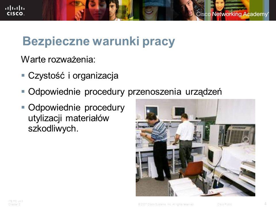 ITE PC v4.0 Chapter 2 4 © 2007 Cisco Systems, Inc. All rights reserved.Cisco Public Bezpieczne warunki pracy Warte rozważenia: Czystość i organizacja