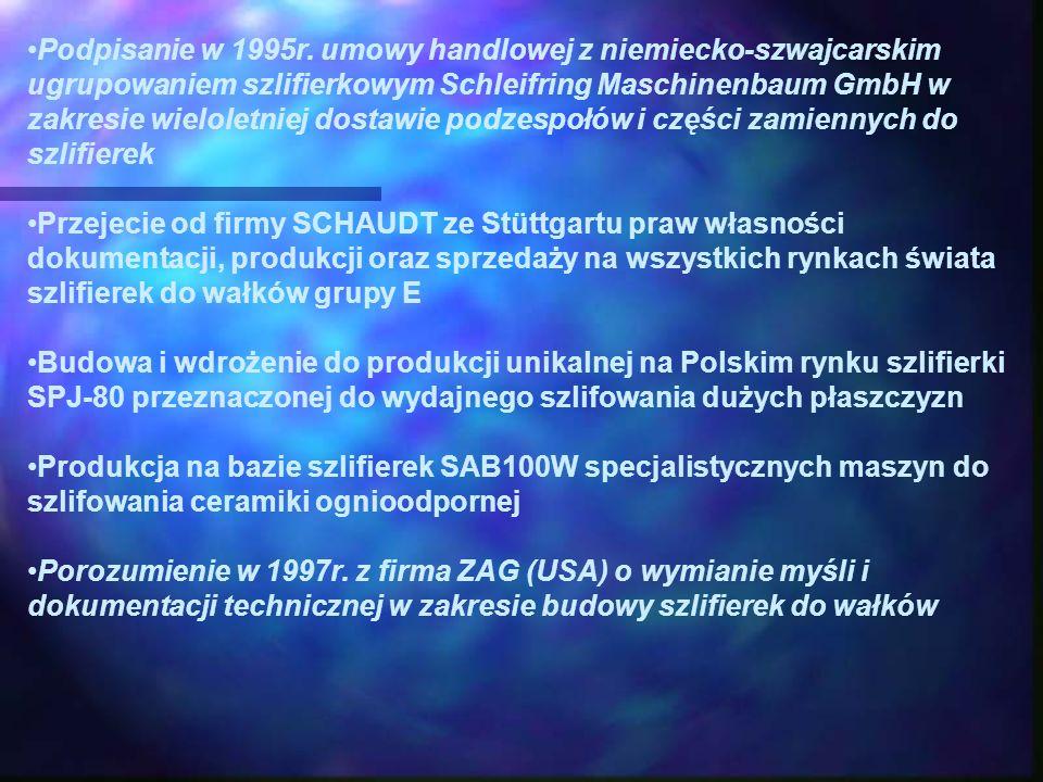 Podpisanie w 1995r. umowy handlowej z niemiecko-szwajcarskim ugrupowaniem szlifierkowym Schleifring Maschinenbaum GmbH w zakresie wieloletniej dostawi