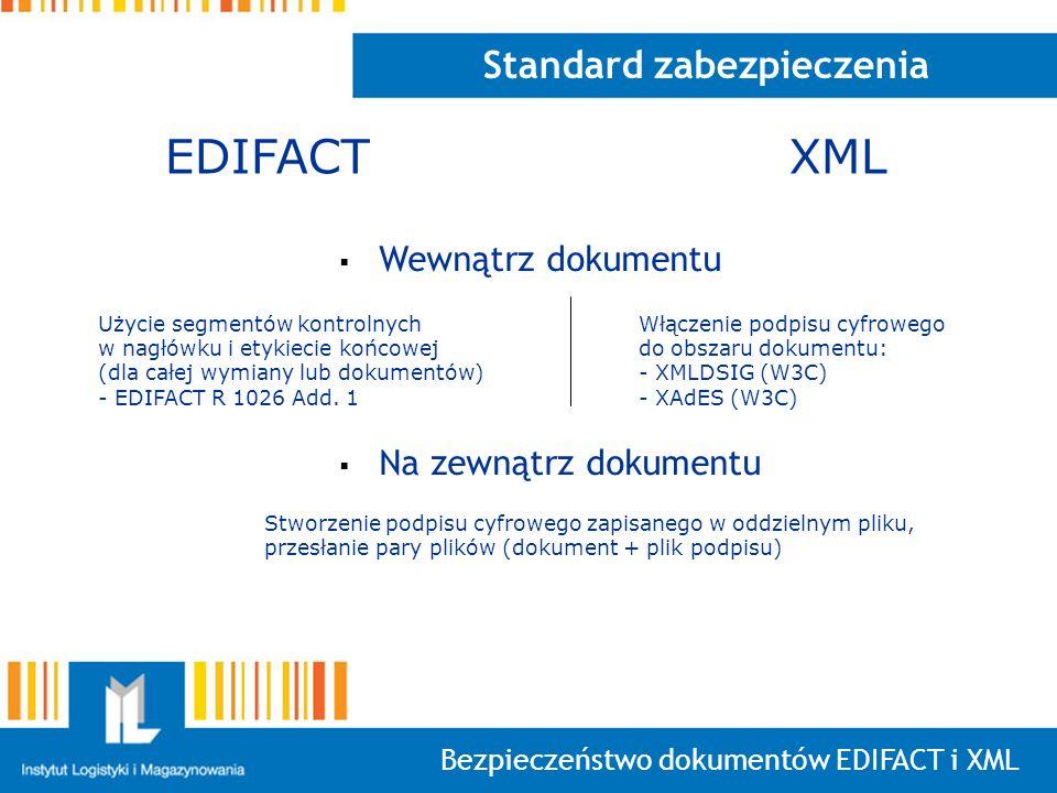 Bezpieczeństwo dokumentów EDIFACT i XML Standard zabezpieczenia Wewnątrz dokumentu Na zewnątrz dokumentu EDIFACTXML Użycie segmentów kontrolnych w nag