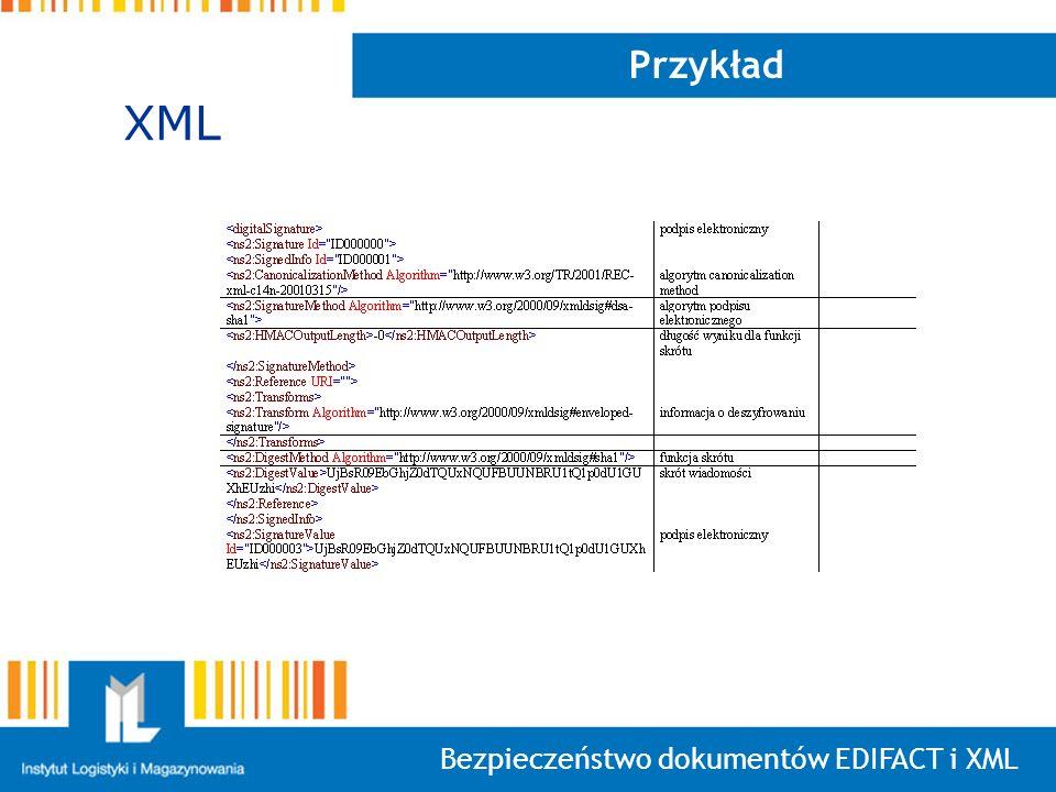 Bezpieczeństwo dokumentów EDIFACT i XML Przykład XML