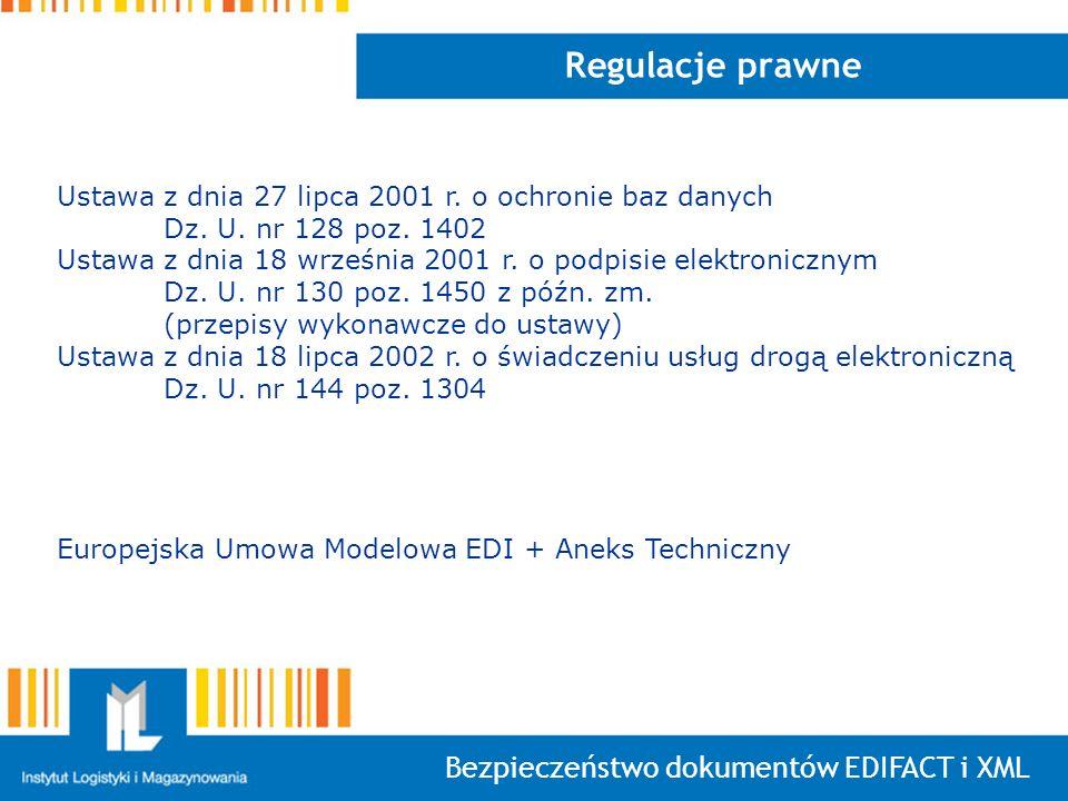Bezpieczeństwo dokumentów EDIFACT i XML Regulacje prawne Ustawa z dnia 27 lipca 2001 r. o ochronie baz danych Dz. U. nr 128 poz. 1402 Ustawa z dnia 18