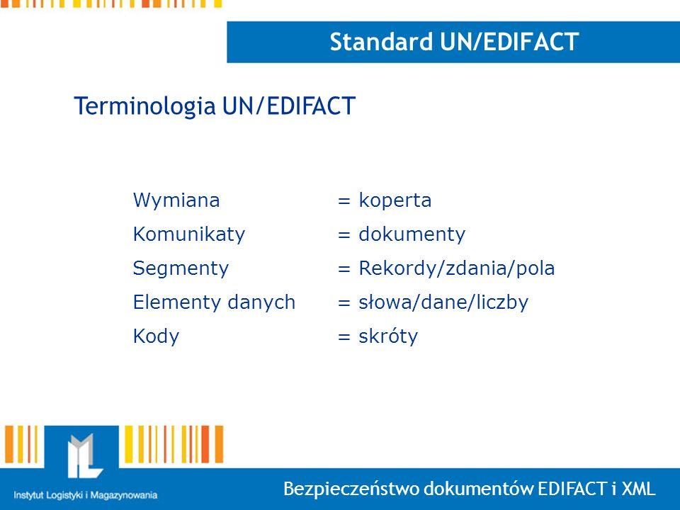 Bezpieczeństwo dokumentów EDIFACT i XML Standard UN/EDIFACT Wymiana = koperta Komunikaty = dokumenty Segmenty = Rekordy/zdania/pola Elementy danych =