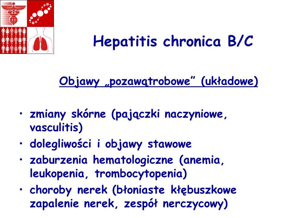 Hepatitis chronica B/C Objawy pozawątrobowe (układowe) zmiany skórne (pajączki naczyniowe, vasculitis) dolegliwości i objawy stawowe zaburzenia hemato