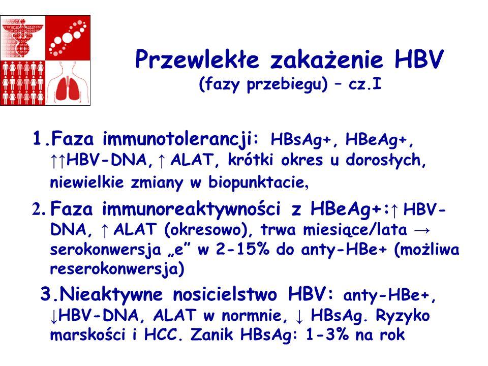 Przewlekłe zakażenie HBV (fazy przebiegu) – cz.I 1.Faza immunotolerancji: HBsAg+, HBeAg+, HBV-DNA, ALAT, krótki okres u dorosłych, niewielkie zmiany w