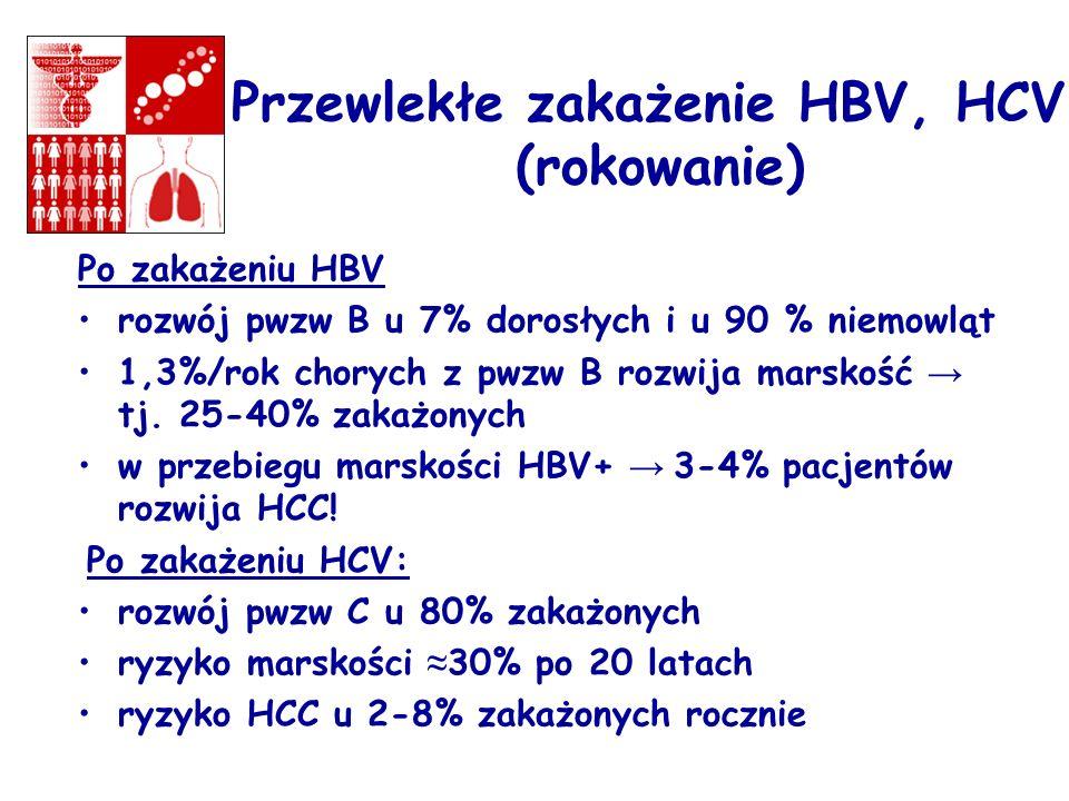 Po zakażeniu HBV rozwój pwzw B u 7% dorosłych i u 90 % niemowląt 1,3%/rok chorych z pwzw B rozwija marskość tj. 25-40% zakażonych w przebiegu marskośc