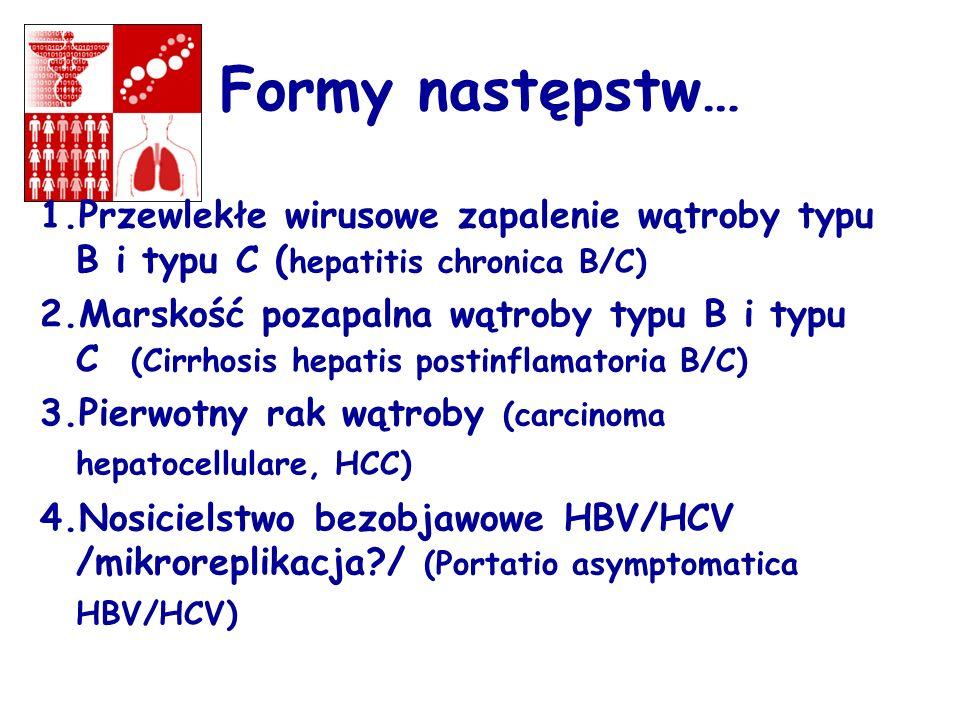 Formy następstw… 1.Przewlekłe wirusowe zapalenie wątroby typu B i typu C ( hepatitis chronica B/C) 2.Marskość pozapalna wątroby typu B i typu C (Cirrh