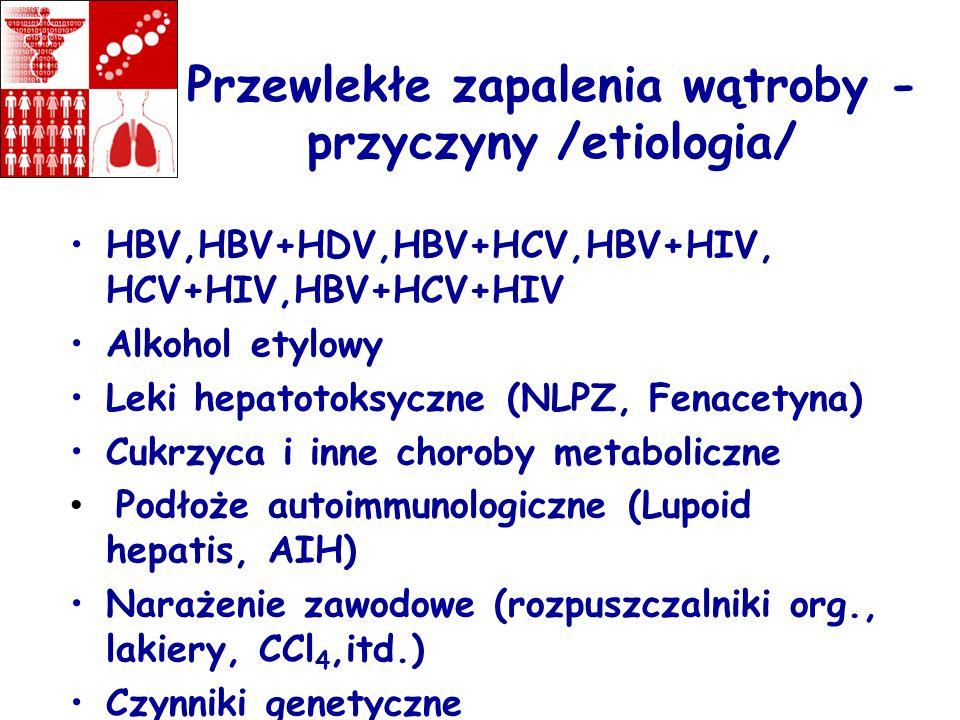 Przewlekłe zapalenia wątroby - przyczyny /etiologia/ HBV,HBV+HDV,HBV+HCV,HBV+HIV, HCV+HIV,HBV+HCV+HIV Alkohol etylowy Leki hepatotoksyczne (NLPZ, Fena