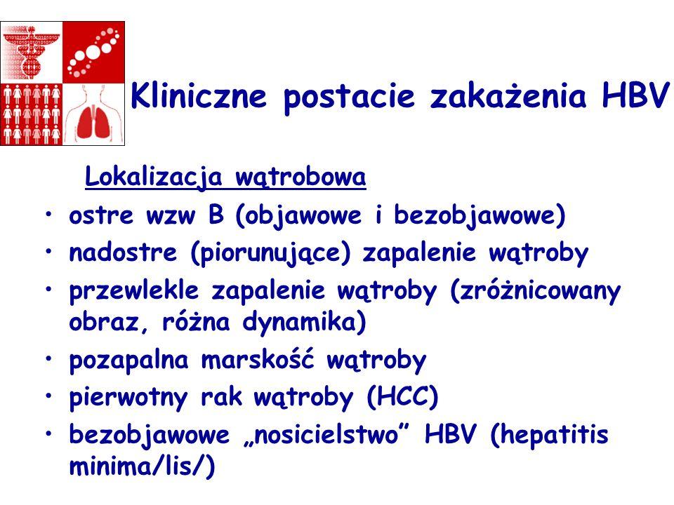 Kliniczne postacie zakażenia HBV Lokalizacja wątrobowa ostre wzw B (objawowe i bezobjawowe) nadostre (piorunujące) zapalenie wątroby przewlekle zapale