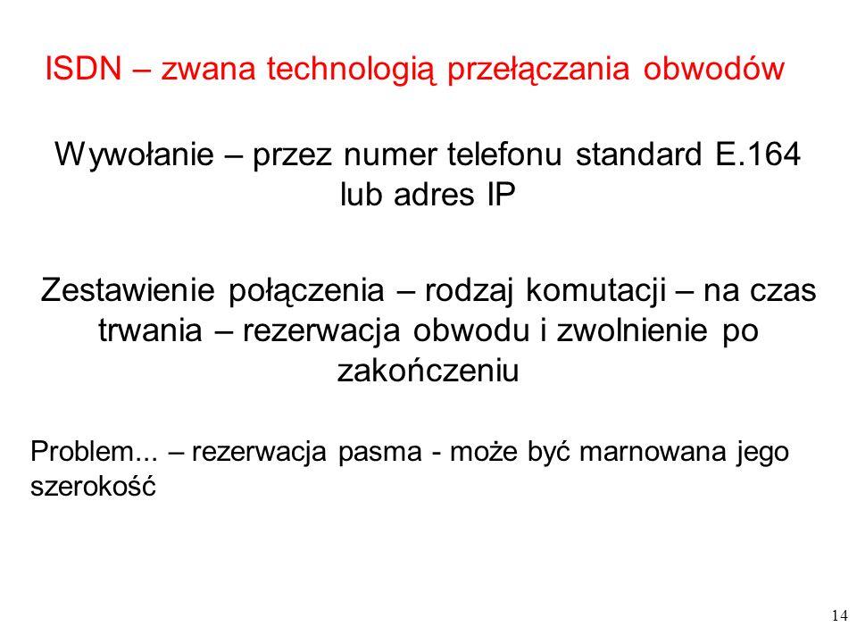 14 ISDN – zwana technologią przełączania obwodów Wywołanie – przez numer telefonu standard E.164 lub adres IP Zestawienie połączenia – rodzaj komutacj