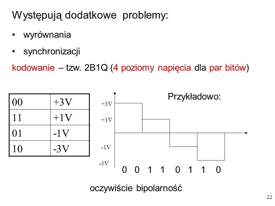 22 Występują dodatkowe problemy: wyrównania synchronizacji kodowanie – tzw. 2B1Q (4 poziomy napięcia dla par bitów) 00+3V 11+1V 01-1V 10-3V +3V -3V -1