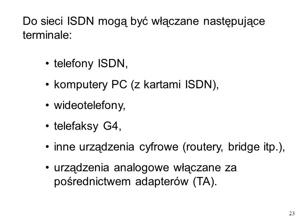 23 telefony ISDN, komputery PC (z kartami ISDN), wideotelefony, telefaksy G4, inne urządzenia cyfrowe (routery, bridge itp.), urządzenia analogowe włą